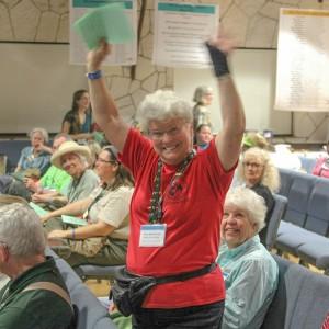 Sara Beckelman celebrates at 2014 MN state conference